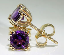 14k Yellow Gold Stud Earrings 8-Prong Set 5mm Round Amethyst 1.50 ctw