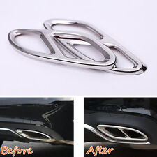For Benz GLC 2016 2017 Rear Bumper Exhaust Tail Pipe Muffler Cover Trim Steel x2