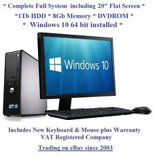 "Fast Windows 10 Full System 20"" Monitor Dell 780 8GB 1TB Desktop PC Computer"