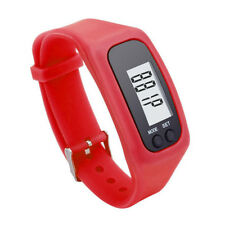 Digital LCD Pedometer Red Silicone Band Time Step Calorie Distance Counter