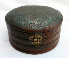 Round Wooden Antique Style Box with Embossed Padded Lid - NEW