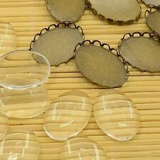 10set Antique Bronze Brass Cabochon Cameo Blank Setting Glass Oval Cover Craft