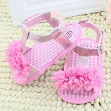 Pink 12-18 month Baby Girl Floral Sandals Crib Soft Sole Non-slip Princess Shoes
