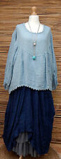 LAGENLOOK LINEN OVERSIZE LACE FINISHED QUIRKY GYPSY TOP*PALE BLUE*SIZE L-XL-XXL