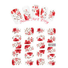 20 Nail Art Stickers-Decals water transfer-Adesivi con Fiori Rossi !!!