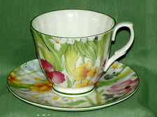 English Bone China~SPRING FLORAL CHINTZ~Teacup & Saucer ~Made in England~New
