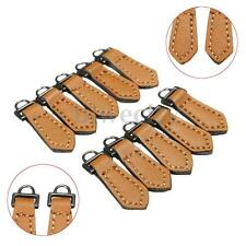 10PCS/Pack Brown Leather Zipper Fixer Pull Tab Replacement Zip Bag Tags Kit New