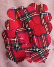 20 x 2 inch Red Multi-Tartan,Plaid Wool Fabric,Cut Out, Applique Scottish Hearts
