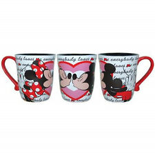 Walt Disney's Mickey and Minnie Mouse Kisses Heart 14 oz Ceramic Mug, NEW UNUSED