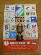 01/10/1999 Rugby Union: World Cup, Wales v Argentina [At Millennium Stadium Card