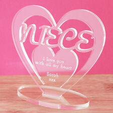 Personalised Niece Heart with Message Ornament Keepsake New Baby, Birthday Gift