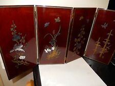 RARE CHINESE BIRDS, BUTTERFLIES & BAMBOO SCULTPED MIXED METAL LACQUER SCREEN