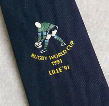 RUGBY WORLD CUP TIE VINTAGE 1991 LILLE '91 1990s NAVY RETRO SPORTS