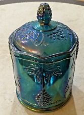 Indiana Blue/Purple Glass Harvest Grape Carnival Glass Candy Jar w/ Lid