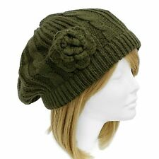 Cable Hand Knitted Beret Applied Flower Soft Olive Green Hat Cap One Size
