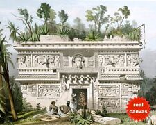 MAYAN RUINS OF CHICHEN ITZA MEXICO CATHERWOOD PAINTING ART REAL CANVAS PRINT