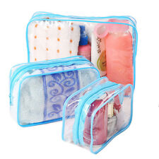 PVC Clear Plastic Pouch Travel Bathing Toiletry Zipper Cosmetic Bag LE