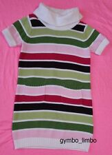 Gymboree Pups and Kisses Girls 7 Purple Pink Green Striped SWEATER DRESS SS