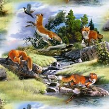 North American Wildlife Red Fox Foxes in the Wild Cotton Fabric by the Yard