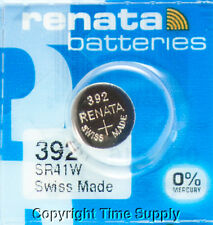 1 PC Renata 392 Watch Batteries Swiss SR41W FREE SHIP 0% MERCURY