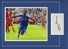 Signed Didier Drogba Chelsea Card With Photo Champions League Final