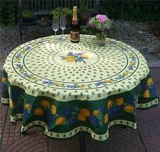 Tischdecke Provence 180 cm rund grün aus Frankreich, pflegeleicht und bügelfrei