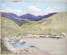 Watercolour mountain Landscape with rocky lake. Circa early 20th Century. Modern