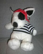 AURORA  plush  MAX  DOG  with RED BANDANA, EARRING, BLACK & WHITE SHIRT    NWOT