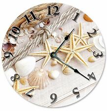 "SEA SHELLS Sand STARFISH Clock - Large 10.5"" Wall Clock - 2106"