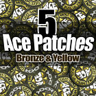 NEW BRONZE & YELLOW (X5) Disc Golf Embroidered ACE PATCH Attach 2 bag FAST SHIP
