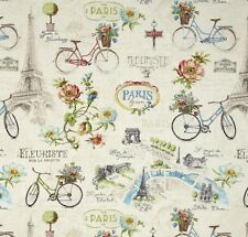 PARIS FOREVER~Eiffel Tower~Bicycles~French Script~Ivory~ TRAVEL ~Fabric ~ 1/2 yd