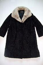 Authentic Lammoire Argentine Black Lamb Fur Mink Fur Long Coat Vintage Size 8
