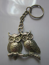 Key Chain Ring antique silver owl charm pendant gift present accessory