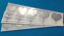 """100 SILVER HEART 1"""" SCRATCH OFF STICKERS LABELS TICKETS PROMOTIONAL GAMES FAVORS"""