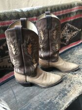 WOMENS DAN POST EL PASO TAN & BROWN Two-Tone Leather INLAY Cowboy Boots 6.5