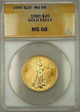 1990 $25 Dollar American Gold Eagle Coin AGE 1/2 Oz ANACS MS-68 GEM *Scarce Date