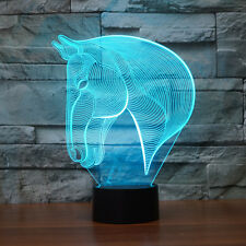 Horse Head 7 Color Change Night Light Home Decor Bedroom 3D Acrylic LED Art Lamp