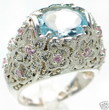 David Sigal Solid 925 Sterling Silver Floral Blue & Pink Crystal Ring Sz-6 '