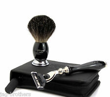 SHAVING TRAVEL SET /KIT WITH BADGER HAIR SHAVING BRUSH, RAZOR & LEATHER CASE