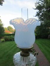 REPLACEMENT  VICTORIAN STYLE VASELINE OPALESCENT GLASS DUPLEX OIL LAMP SHADE