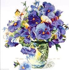 """Design Works Counted Cross Stitch kit 14"""" x 14"""" ~ PANSY FLORAL #2771 Sale"""