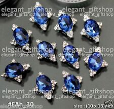 Nail Art  Decoration Alloy Jewelry Sapphire Blue Oval Glitter Rhinestones #EAh30