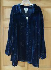 The Quacker Factory NWT Button Down Shirt Women's  Burnout Script  Blue Size 3X