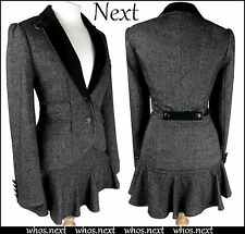 73 NEXT 8 10 Tweed Blazer Jacket Mini Skirt Ladies Suit Grey Black Military