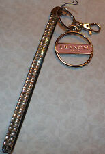 COACH PEACH TAG  WRISTLET  KEY RING CHAIN HOLDER SILVER HARDWARE CLEAR CRYSTAL