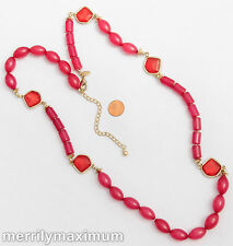 Chico's Signed Necklace Gold Tone Long Chain Pink Red Chunky Beads Orange Accent