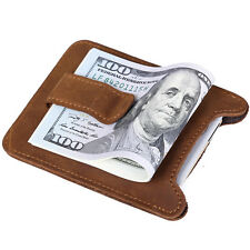 Men's Womens Genuine Cow Leather Slim Wallet Money Clip Credit Card Holder Brown