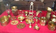LOT 22 ASSORTED VINTAGE BRASS ITEMS: CANDLESTICKS, VASES, PITCHERS& LOTS MORE