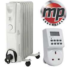 Daewoo 1500W Oil Filled Radiator Heater with Thermostat & Digital Timer - White