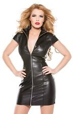 Sexy PVC look Black Faux Leather Gothic Fetish lingerie Bondage Mini dress 86705